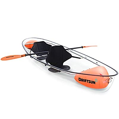 Driftsun Transparent Crystal Clear Kayak - 2 Person Touring Kayak Clear Bottom Canoe