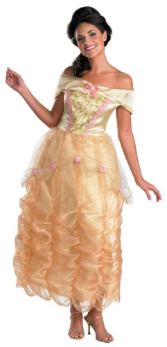 Pink Belle Costumes (Disguise Disney Beauty And The Beast Belle Adult Deluxe Costume, Gold/Yellow/Pink, Medium/8-10)