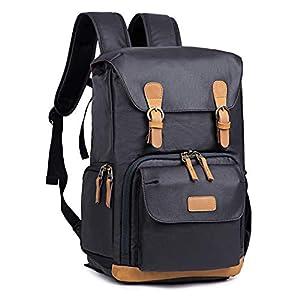 Best Epic Trends 41PK8Y4WrkL._SS300_ Kattee Camera Backpack Canvas Water-repellent 15 inch Laptop Bag DSLR SLR Backpack for Men Women