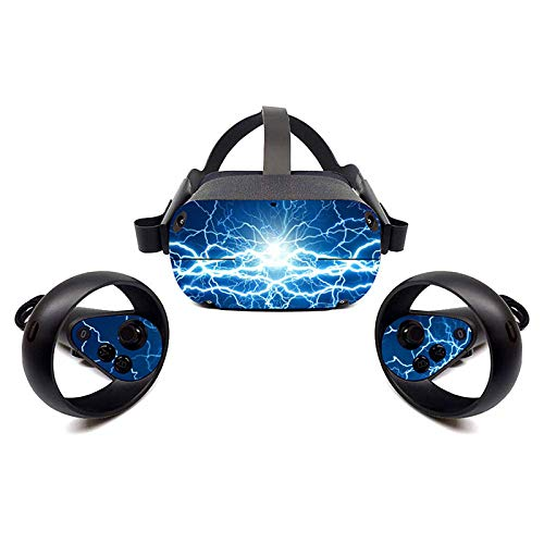 FOTTCZ Vinyl Sticker Skins for Oculus Quest VR Headsets and Controllers, Virtual Reality Skin – Light-Thunder Storm