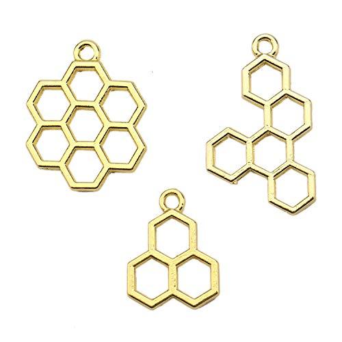 JETEHO 12Pcs Open Back Bezel Pendant, Bee Honeycomb Metal Frame Pendant Open Bezel Setting UV for Resin Jewelry Making