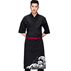 Classic JapanesePure color kimono design which can make you look more professional. This is a 3/4 long sleeve and single-breasted Japanese restaurant work uniform. Material: This coat made of 35% Cotton and 65% Polyester. US:XS(Label M): bust...