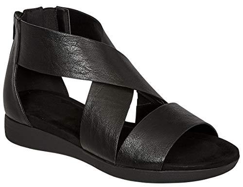 MVE Shoes Women's Stylish Strappy Cushioned Open Toe Stretchy Back Zipper Low Platform Sandal, KORI-4 Black 8 (Back Zipper Solid)