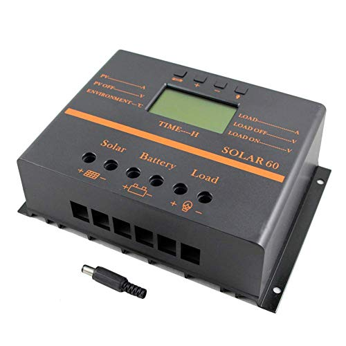 Tellunow Solar Charge Controller 60A PWM 12/24V 1440W Solar Panel Battery Charge Controller with LCD Display 5V USB Mobile Charger Output Enhanced Heat Sink (60A)