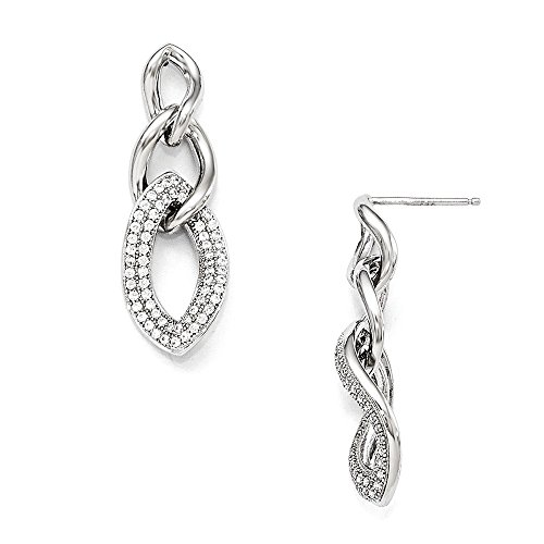 - Sterling Silver & CZ Brilliant Embers Polished Dangle Post Earrings