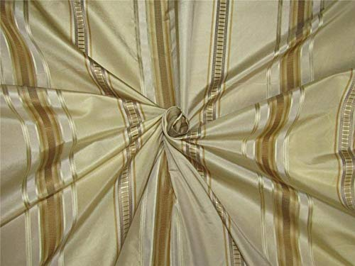 (Puresilks Silk Taffeta Fabric Champagne x Gold Satin Stripes 54