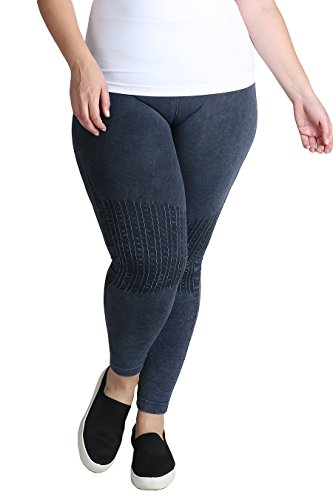 Nikibiki Womens Plus Size Seamless Vintage Knee Accents Leggings (Denim) Accent Leggings