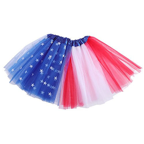 BESTOYARD Kids Tutu Skirt American Flag Tutu Dance Dress American Flag Style Halloween Costume for Stage Show and Daily Dress ()