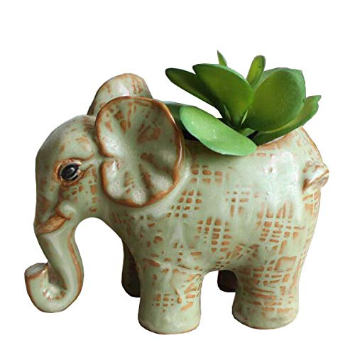 Everyday Better Life Cute Cartoon Animal Elephant Ceramic Succulent Cactus Flower Pot/Plant Pots/Planter/Container for Home Garden Office Desktop Decoration (Green)