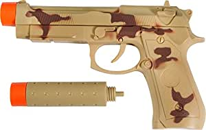 """Maxx Action Toy 9 MM Hand Gun with 13"""" Silencer with Electronic Sound - Camo"""
