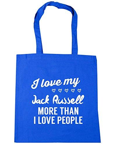 HippoWarehouse I Love My Jack Russel–más de I Love People Tote Compras Bolsa de playa 42cm x38cm, 10litros Azul Aciano