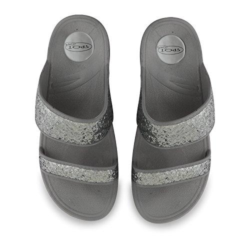 New Ladies soporte de cuña de bajo EVA con purpurina abierto Toe verano sandalias Flip Flop zapatillas de plataforma de vacaciones de playa plata