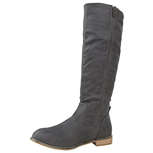 Stiefelparadies Klassische Damen Stiefel Langschaftstiefel Velours Schnallen Schuhe Blockabsatz Damenstiefel Flandell Grau Camiri