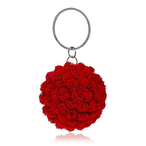 Purse Red Wedding ONWomen Pink Famous Handbags Black Clutch Red Round Bag Full Rising Lady Diamond Blue Evening Flower Bag 4B8qxpwzx