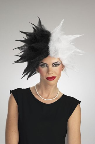 Wig Cruella *** Product Description: Deluxe Spiked Wig With Traditional Half Black, Half White Effect. Add This Wig To Complete The 'Cruella' Look. One Size Fits Most Adults. Synthetic Fibers. ***
