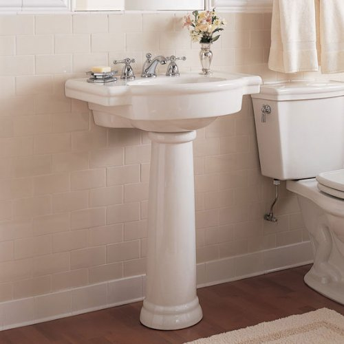 033056615843 - American Standard 0282.008.020 Retrospect Pedestal Console Sink Top with 8-Inch Faucet Spacing, White carousel main 7
