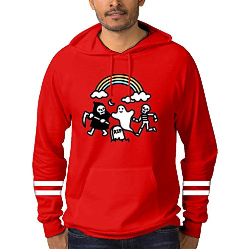 Spooky Pals,Funny Sports Mens Hooded Jacket Hoodies Pocket Red 3XL