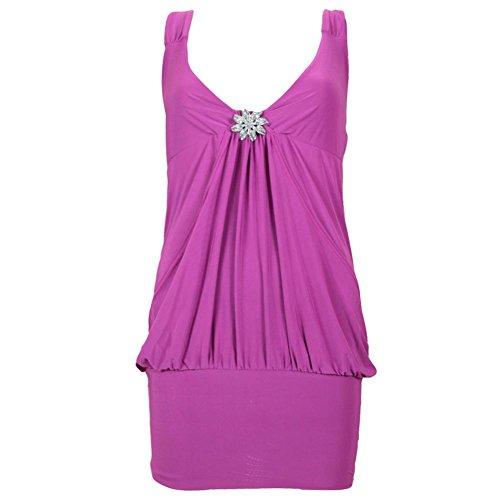 Broche Taille Drape 36C22 Robe femmes Robe Club fte de Neuf pour Top femme Magenta Mini wUgAqnH