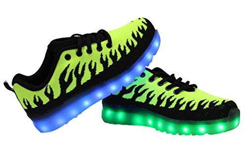 Gs Led Oplichten Schoenen Usb Opladen Herenmode Knipperende Sneakers Groen