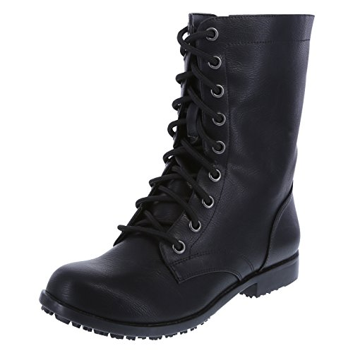 safeTstep Slip Resistant Women's Black Women's Brooke Lace-up with Zipper Boot 5 Regular by safeTstep
