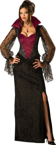 InCharacter Costumes, LLC Women's Midnight Vampiress Costume, Red/Black, Medium - Victorian Gown Costumes