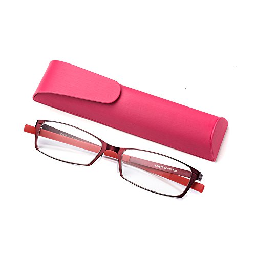 Anti Blue Light Straight Thin Stamped Metal Frame Reading Glasses Readers +1.5 (red, 1.5)