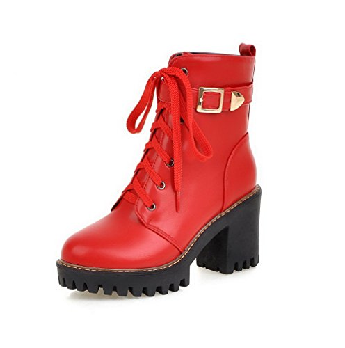 AllhqFashion Womens Lace-Up High-Heels PU Solid Low-Top Boots Red