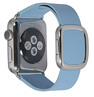 JSGJMY Smart Watch Band 38mm Leather Bracelet Replacement Strap for Smart Watch Sport & Edition (Blue Jay+Silver Buckle,38MM S)