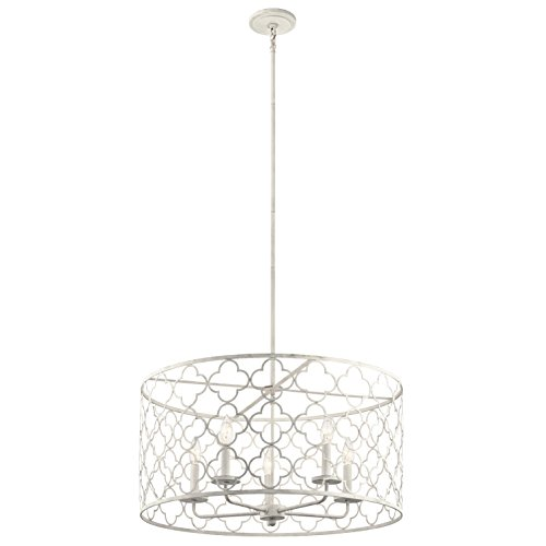 Kichler 43827ANW 5 Light Pendant, Antique White (Antique Chandelier White Transitional)