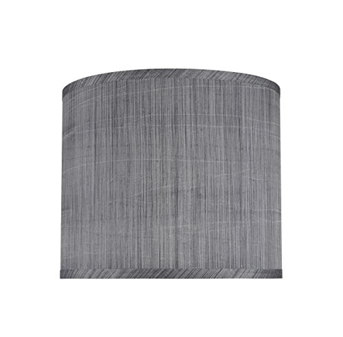 Aspen Creative 31015 Transitional Hardback Drum (Cylinder) Shape Spider Construction Lamp Shade in Grey & Black, 12