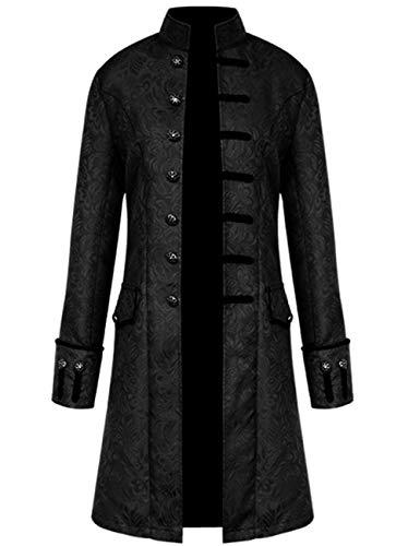 KAMA BRIDAL Vintage Medieval Steampunk Victorian Jacket Gothic Tailcoat Costume Black 4XL -