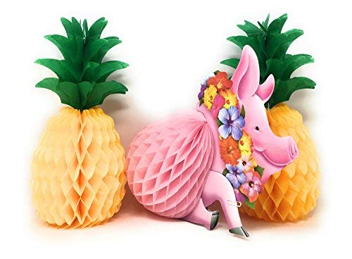Beistle Luau Party Decorations Centerpieces (Bundle Pig and Two Pineapples)]()