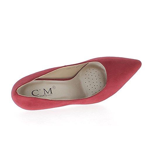 ChaussMoi Zapatos Rojos con Puntas de 10cm de Tacón Fino sostenido Ante Los aspectos