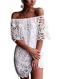 Women's Sexy Off Shoulder Vintage Floral Lace Flare Short Sleeve Loose Elegant Mini Dress