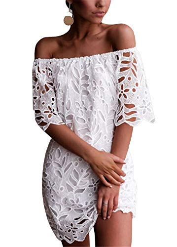 PRETTYGARDEN Women's Sexy Off Shoulder Vintage Floral Lace Flare Short Sleeve Loose Elegant Mini Dress (White, Large)