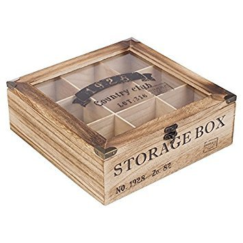 EG Homeware Wooden Tea Storage Box Glass Lid- Choice Of 6 Or 9 Compartements (9 Compartments) by EG Homeware