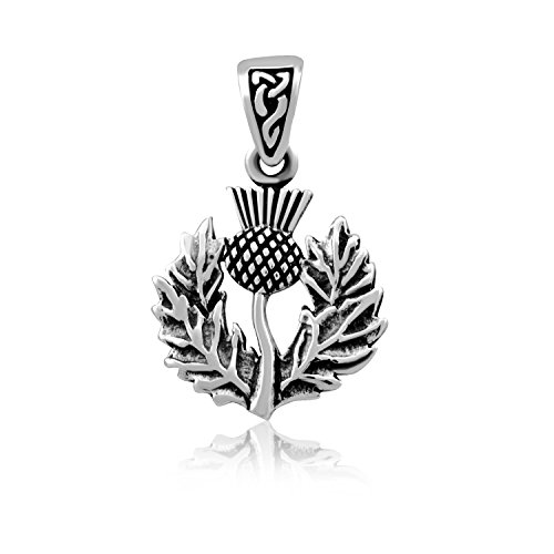 WithLoveSilver Sterling Silver 925 Charm Classic Scottish Style Thistle with Celtic Bale Pendant
