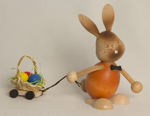 Easter Bunny Rabbit with Egg Cart German Wooden Figurine Made Erzgebirge Germany