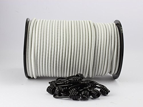8mm Expanderseil weiß 10m + 10 Spiralhaken Gummiseil Planenseil Haken Seil Monoflex