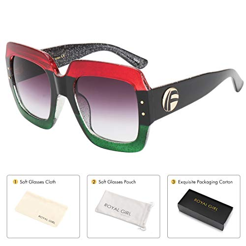 Square Sunglasses For Women Multi Tinted Frame Brand Designer Fashion Shades, 1c5 Red and Green , Large  ()