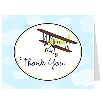 airplane thank you cards baby shower birthday little pilot baby boy