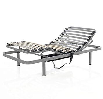Mivis - Somier electrico articulado de acero multilaminas de abedul, tamaño 150/180 cm, color gris: Amazon.es: Hogar