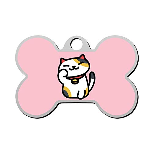 ZLCM Ms. Fortune Neko Atsume Personalized Pet ID Tags for Dogs & Cats, Front & Backside Engraving The Dog Tags