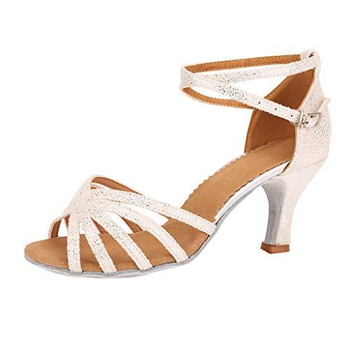 HENWERD Women's Stylish Ballroom Morden Salsa Latin Tango Party Professional Dance Sandals (White,6 US)