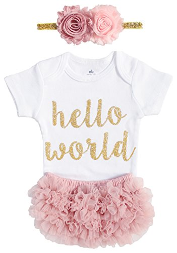 OoSweetCharlotteoO Newborn Baby Girl Coming Home Outfit Hello World Bodysuits 3pcs (Newborn)