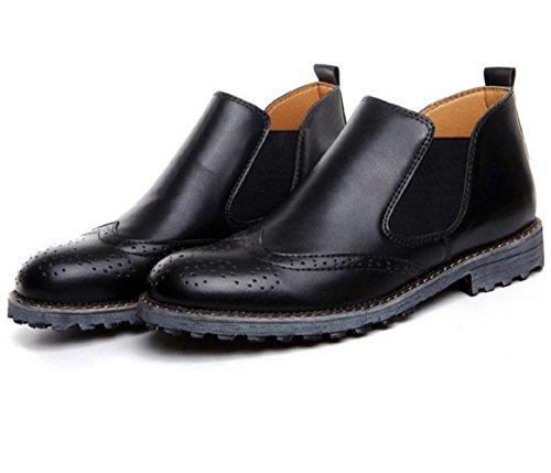 zapatos casuales de los nuevos hombres de la alta ayuda zapatos de la marea de tendencias zapatos transpirables talladas manera de los hombres poner un pie perezoso Black