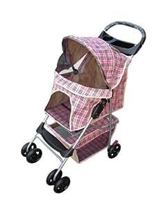 Deluxe 4 Wheel Dog Cat Stroller Pet Carrier