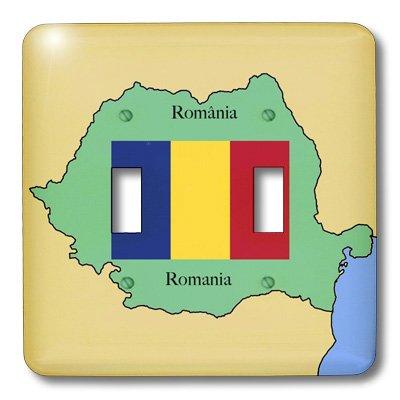 3dRose Lsp_39222_2 - Interruptor doble de interruptor para mapa y bandera de Rumanía con Rumanía