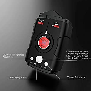 Radar Detectors for Cars, Voice Alert and Speed Alarm System with 360 Degree Detection, City/Highway Mode Radar Detector