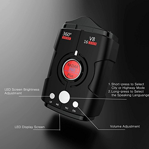 Radar Detectors for Cars, Voice Alert and Speed Alarm System with 360 Degree Detection, City/Highway Mode Radar Detector by AZGGN (Image #2)'